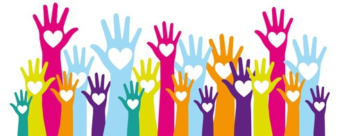 Volunteer Image - Multi color hands up