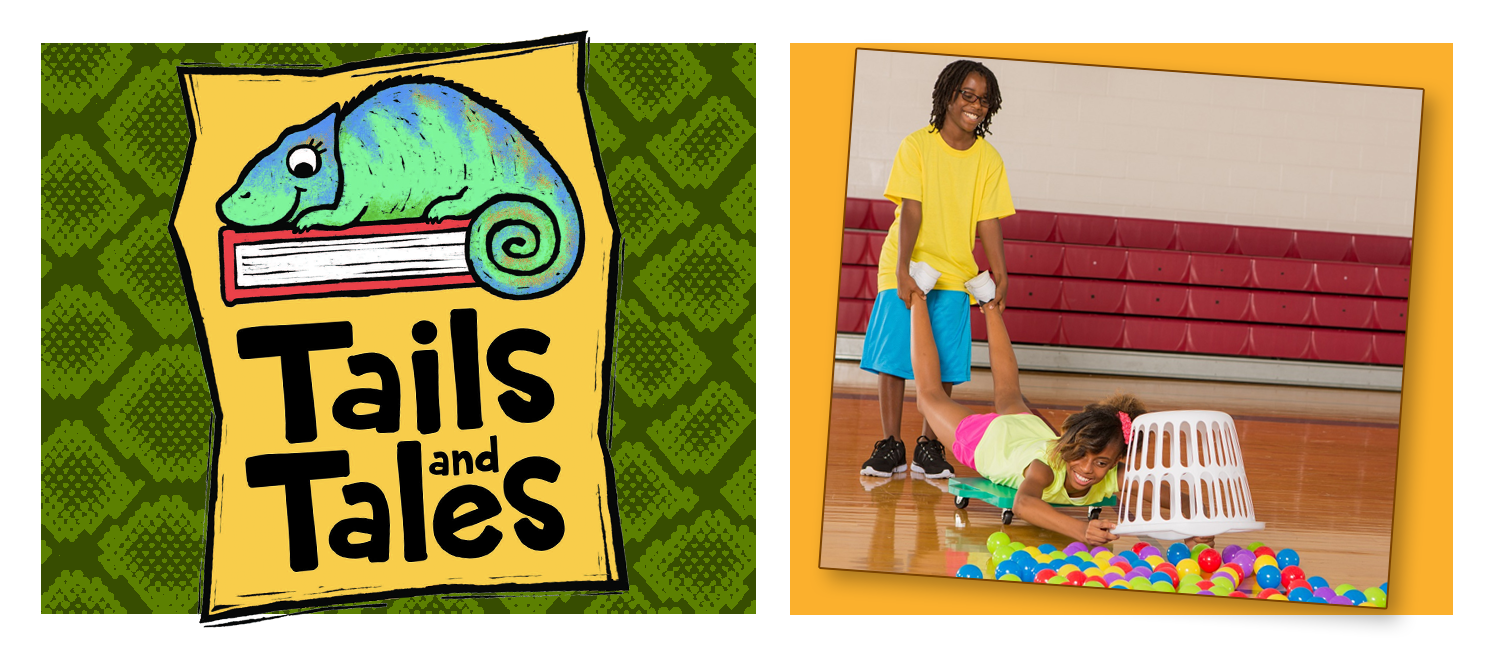 Tails and Tales logo with chameleon on a green snakeskin background. Two kids playing Hungry Hippos game.