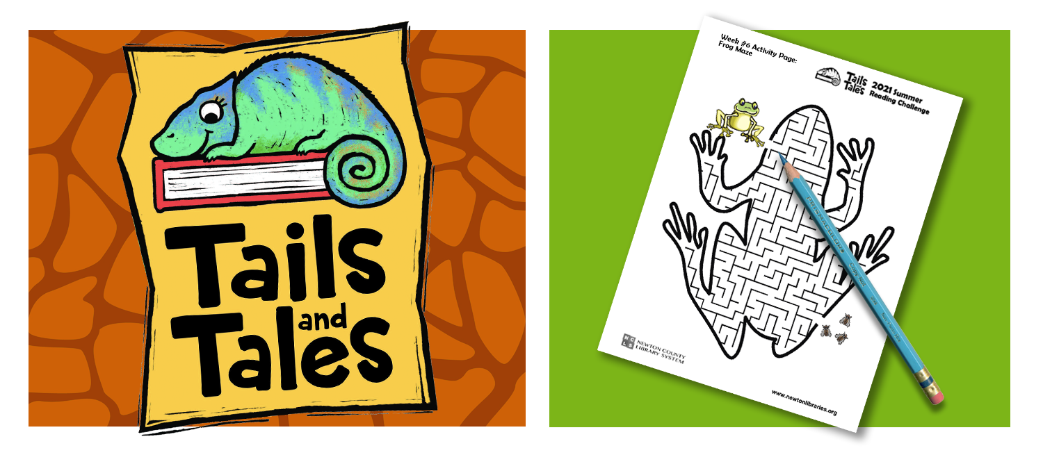 Tails and Tales logo with chameleon on orange giraffe print background. Picture of frog maze page with blue pencil on green background.