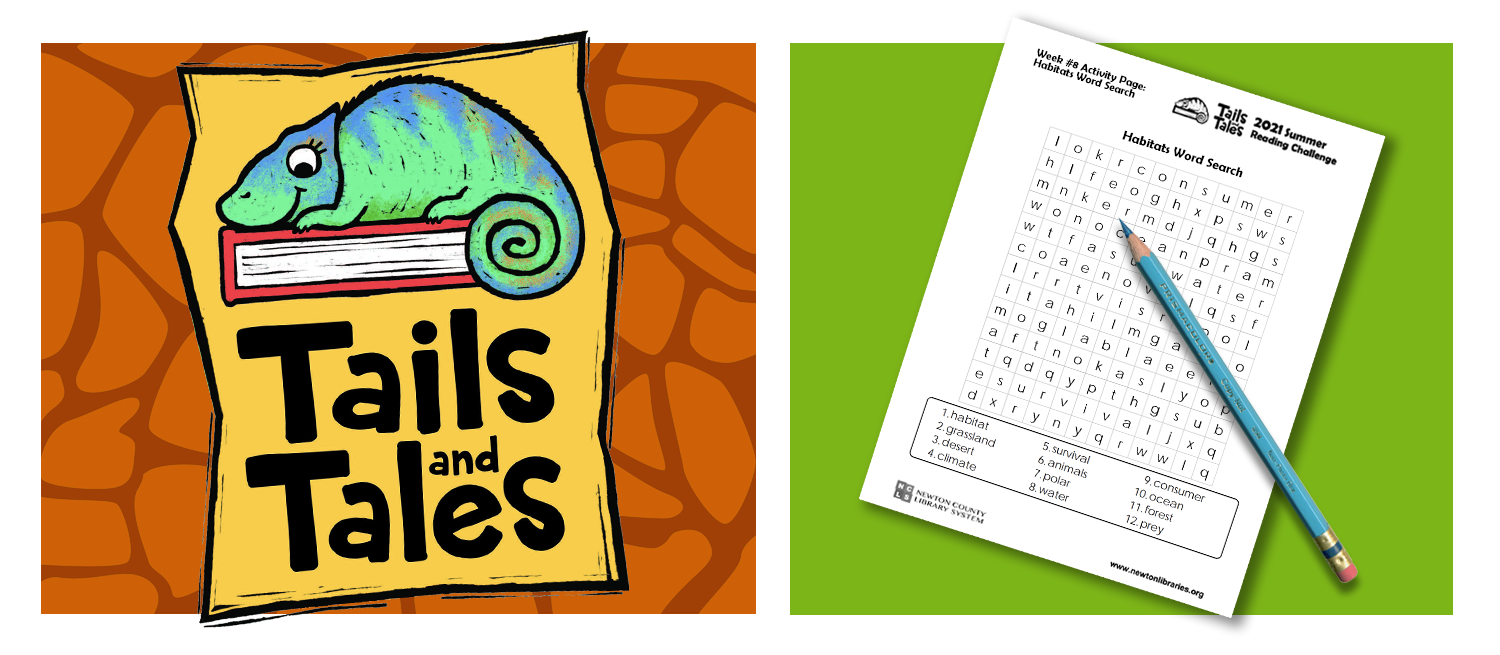 Tails and Tales logo with chameleon on orange giraffe print background. Habitats word search page with blue pencil on green background.