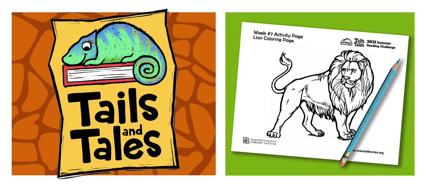 Tails and Tales logo with chameleon on orange giraffe print background. Picture of lion coloring page with blue pencil on green background.