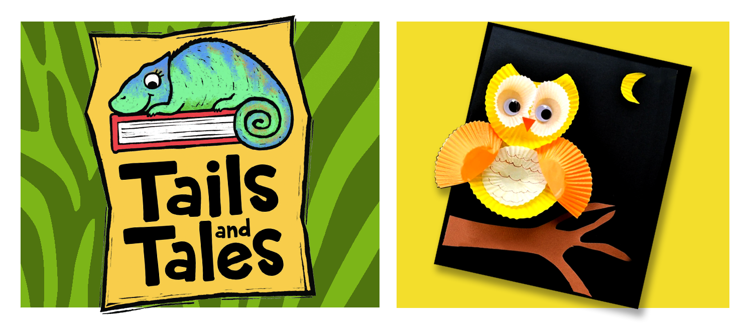 Tails and Tales logo with chameleon on green zebra stripe background. Cupcake liner owl craft on yellow background.