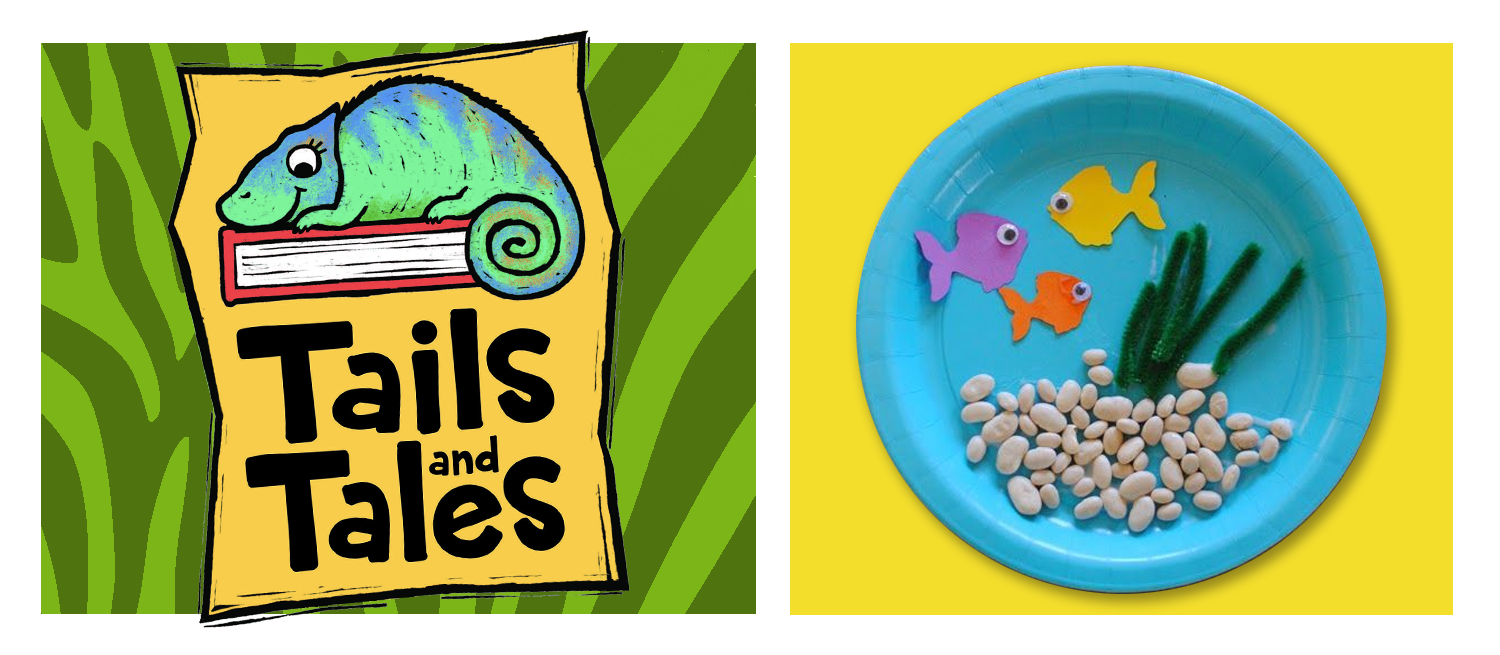 Tails and Tales logo with chameleon on green zebra stripe background. Paper plate aquarium craft on yellow background.