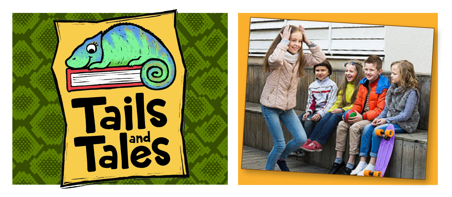 Tails and Tales logo with chameleon on green snakeskin background. Picture of kids playing charades on an orange background.