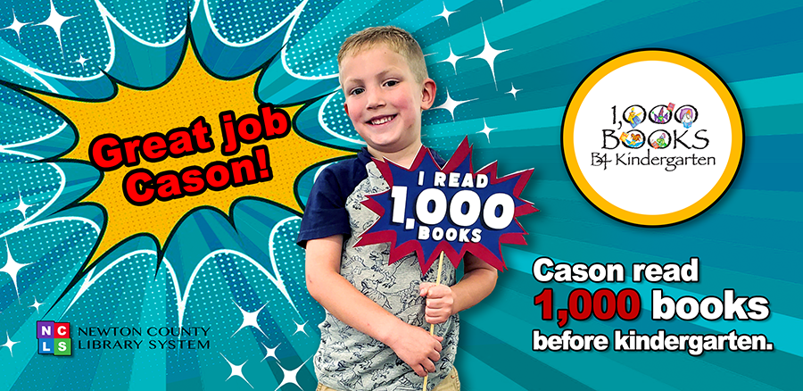 Picture of Cason holding a sign. Cason read 1,000 books before kindergarten.