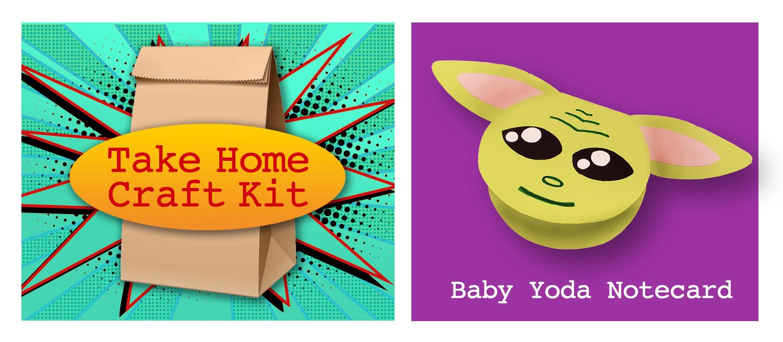 Take Home Craft Kit: Baby Yoda Notecard